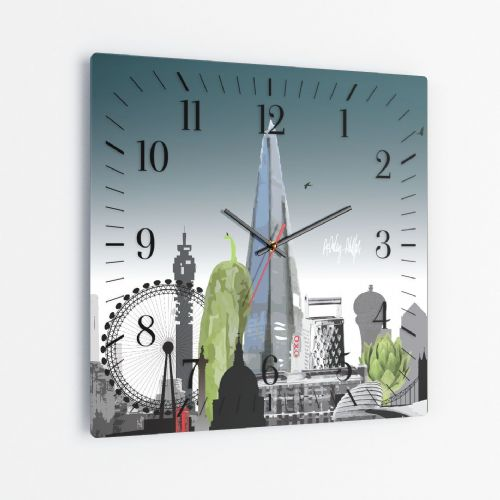 London Skyline With A Twist Ultra Marine - Square Glass Clock